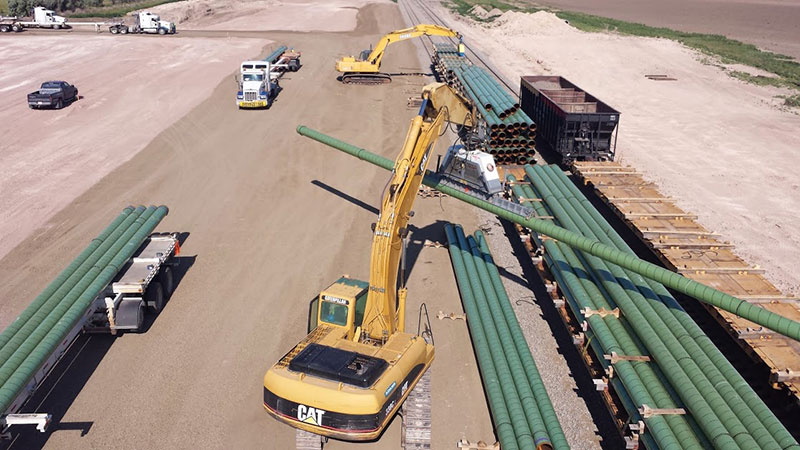 Transloading Pipe at Adams Industries